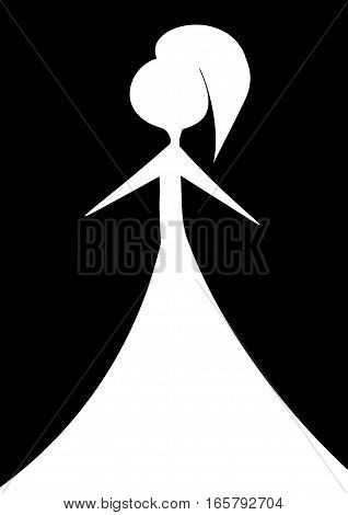 Woman in white dress on a black background