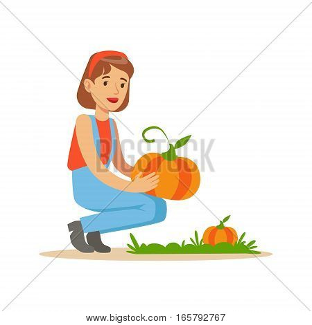 Woman Harvesting Pumpkins, Farmer Working At The Farm And Selling On Natural Organic Product Market. Cartoon Happpy Character Growing Crops And Animals Professionally Vector Illustration.
