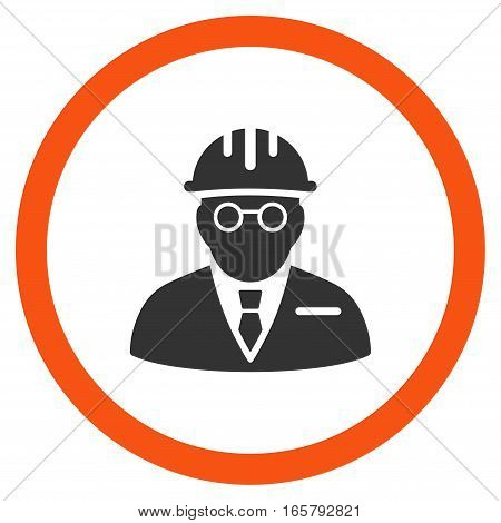 Blind Engineer vector bicolor rounded icon. Image style is a flat icon symbol inside a circle, orange and gray colors, white background.