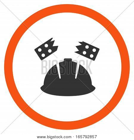 Brick Helmet Accident vector bicolor rounded icon. Image style is a flat icon symbol inside a circle, orange and gray colors, white background.