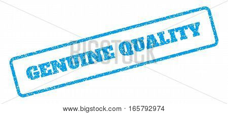 Blue rubber seal stamp with Genuine Quality text. Vector caption inside rounded rectangular shape. Grunge design and scratched texture for watermark labels. Inclined sign on a white background.