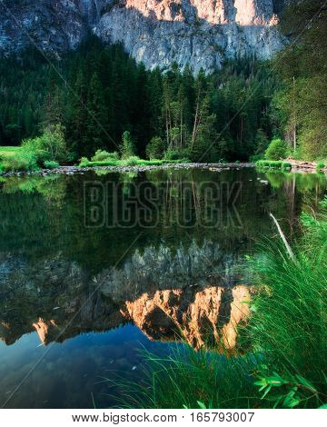 Sky Reflection on the merced river in Yosemite