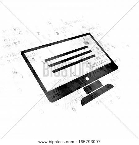 Web development concept: Painted black Monitor icon on Digital background