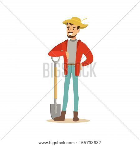 Man In Straw Hat Standing With Shovel, Farmer Working At The Farm And Selling On Natural Organic Product Market. Cartoon Happpy Character Growing Crops And Animals Professionally Vector Illustration.