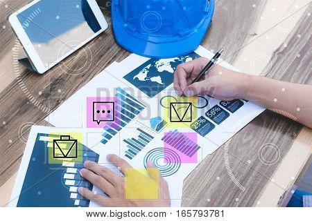 Business Statistics Success Concept : Businessman Analytics Chart And Graph