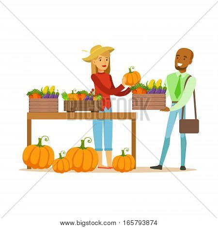 Man Buying Vegetables From Farming Stand, Farmer Working At The Farm And Selling On Natural Organic Product Market. Cartoon Happpy Character Growing Crops And Animals Professionally Vector Illustration.