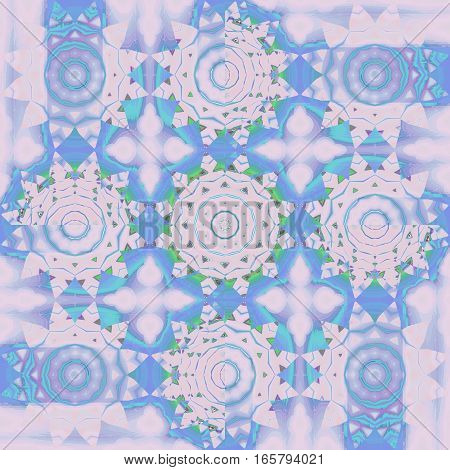 Modern geometric background. Regular floral pattern. Different abstract blossoms in purple and light blue shades with turquoise and light green elements,  ornate and dreamy.