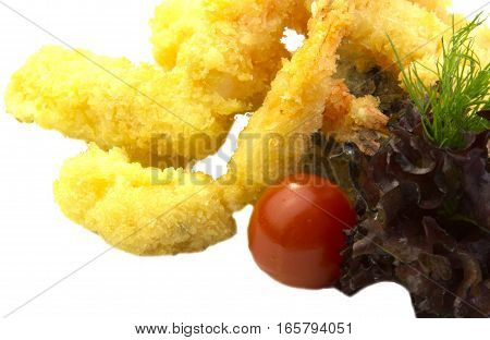 fried shrimp in butter with salad on white background