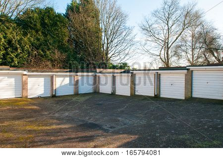 Garages in a residential area for car parking