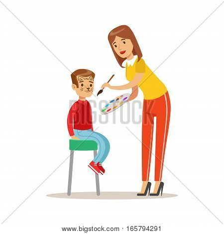 Boy Getting Cat Face Make Up, Children In Costume Party Illustration With Happy Smiling Kid At Festival Celebration