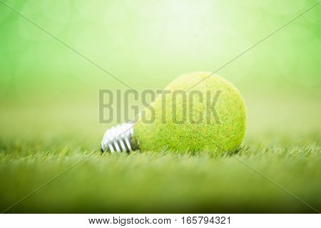 Close-up Of Eco Light Bulb Placed On Green Grass