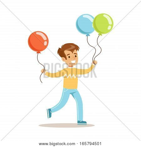 Boy WIth Balloons, Children In Costume Party Illustration With Happy Smiling Kid At Festival Celebration. Smiling Cartoon Vector Character Having Fun And Dressing Up.