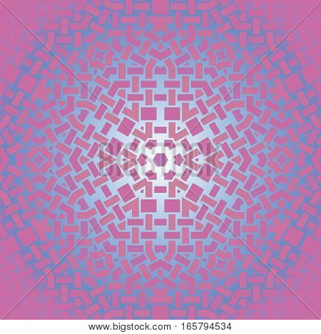 Abstract geometric seamless background. Regular star pattern in light blue and violet shades, centered and shimmering.