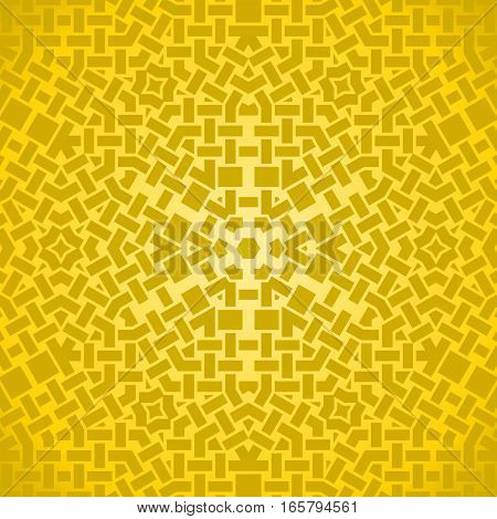 Abstract geometric seamless background single color. Regular intricate star pattern in yellow shades centered.