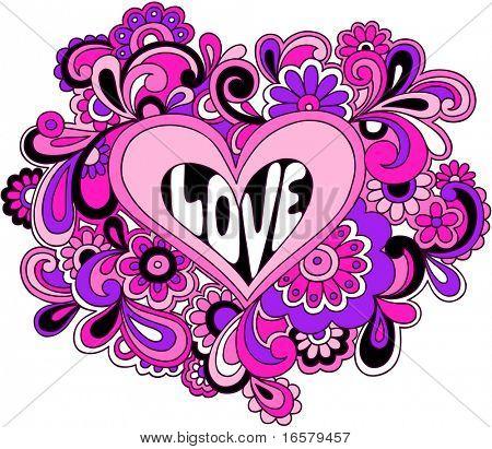 Psychedelische Love hart vectorillustratie