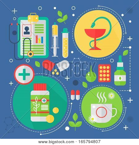 Modern Medicine and healthcare services flat concept. Medical pharmacy technology diagnostics infographics design, web elements, poster banners