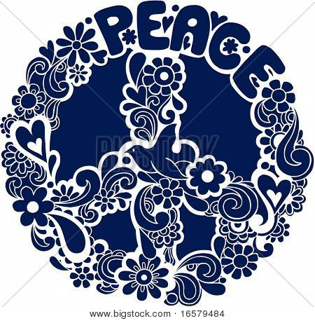 Psychedelic Peace Sign Silhouette Vector Illustration