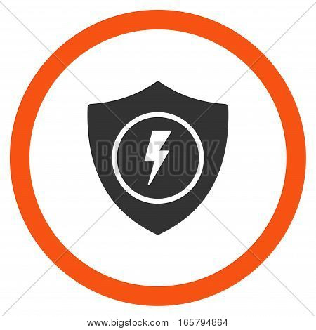 Electric Guard vector bicolor rounded icon. Image style is a flat icon symbol inside a circle, orange and gray colors, white background.