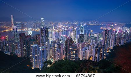 Victoria Peak Hong Kong, Night view of city Skyline in Hongkong from the Peak.