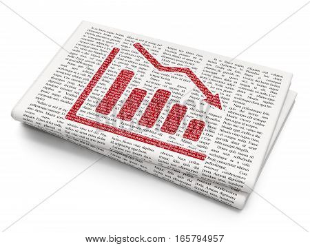 Finance concept: Pixelated red Decline Graph icon on Newspaper background, 3D rendering