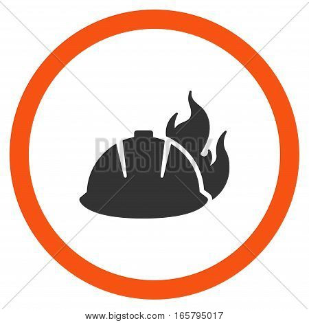 Fire Helmet vector bicolor rounded icon. Image style is a flat icon symbol inside a circle, orange and gray colors, white background.