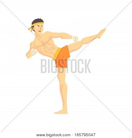 Guy In Shorts Karate Martial Arts Fighter, Fighting Sports Professional In Traditional Fighting Sportive Clothing. Fun Geometric Cartoon Character Doing Fighting Element In Special Outfit.