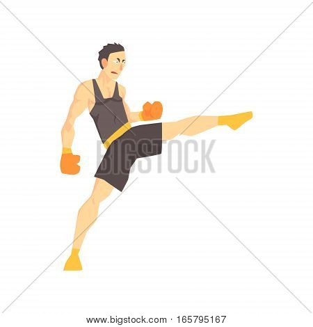 Man In Boxing Gloves And Black Uniform Kickboxing Martial Arts Fighter, Fighting Sports Professional In Traditional Fighting Sportive Clothing. Fun Geometric Cartoon Character Doing Fighting Element In Special Outfit.