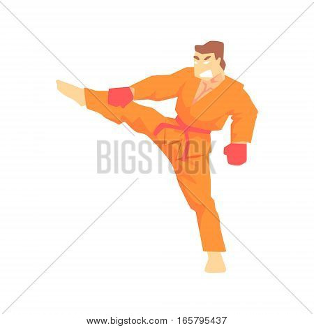 Man In Orange Kimono Taekwondo Martial Arts Fighter, Fighting Sports Professional In Traditional Fighting Sportive Clothing. Fun Geometric Cartoon Character Doing Fighting Element In Special Outfit.