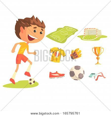 Boy Soccer Football Player, Kids Future Dream Professional Sportive Career Illustration With Related To Profession Objects. Smiling Child Carton Character With Sports Attributes Around Cute Vector Drawing.