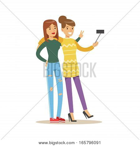 Happy Best Friends Taking Selfie Together, Part Of Friendship Illustration Series. Smiling Cartoon Vector Characters Spending Time With Their Buddies And Mates.