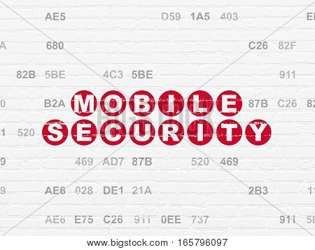 Privacy concept: Painted red text Mobile Security on White Brick wall background with Hexadecimal Code