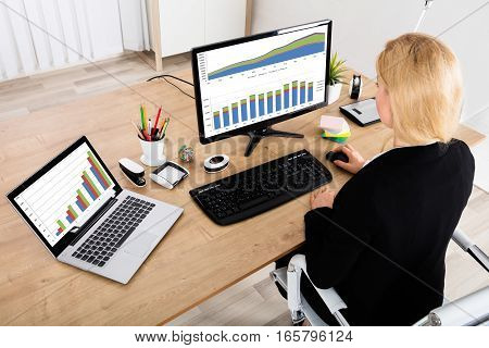 A Businesswoman Analyzing Graph On Computer And Laptop In Office