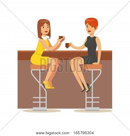 Happy Best Friends Catching Up In bar , Part Of Friendship Illustration Series. Smiling Cartoon Vector Characters Spending Time With Their Buddies And Mates.