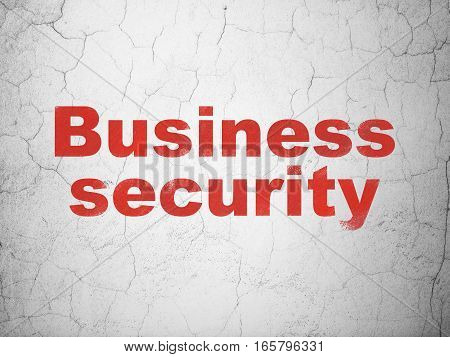 Privacy concept: Red Business Security on textured concrete wall background