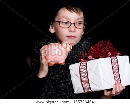 Boy Nerd With Present And Money Box
