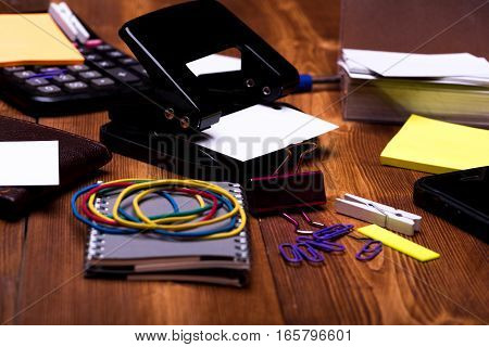 Stationery: Notebook, Clips, Pen, Blanks, Wallet, Hole Puncher, Calculator, Phone
