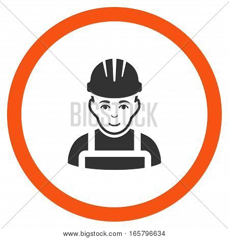 Happy Mechanic vector bicolor rounded icon. Image style is a flat icon symbol inside a circle, orange and gray colors, white background.