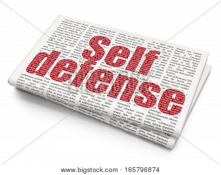 Security concept:  red text Self Defense on Newspaper background, 3D rendering