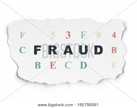 Safety concept: Painted black text Fraud on Torn Paper background with  Hexadecimal Code