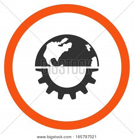 International Industry vector bicolor rounded icon. Image style is a flat icon symbol inside a circle, orange and gray colors, white background.