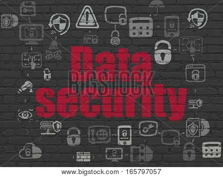 Protection concept: Painted red text Data Security on Black Brick wall background with Scheme Of Hand Drawn Security Icons