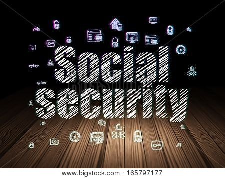 Safety concept: Glowing text Social Security,  Hand Drawn Security Icons in grunge dark room with Wooden Floor, black background