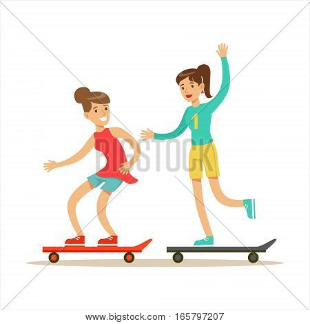 Happy Best Friends Riding Skateboards Together, Part Of Friendship Illustration Series. Smiling Cartoon Vector Characters Spending Time With Their Buddies And Mates.