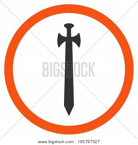 Medieval Sword vector bicolor rounded icon. Image style is a flat icon symbol inside a circle, orange and gray colors, white background.