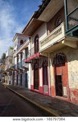 June 15, 2016 Panama City, Panama: closeup of a newly renovated historical buildings mixed with ruins in the Casco Viejo area of the capital city