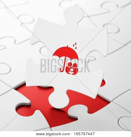 Safety concept: Family And Umbrella on White puzzle pieces background, 3D rendering