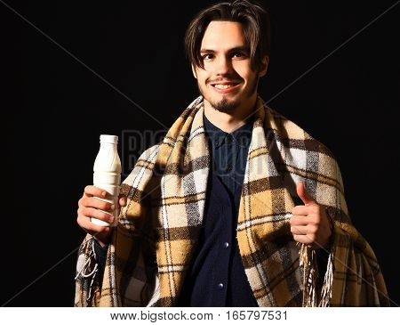 Smiling Bearded Man In Plaid