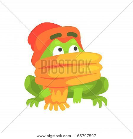 Green Frog Funny Character Wearing Scarf And Hat Childish Cartoon Illustration. Flat Bright Color Isolated Funny Toad Life Situation Vector Sticker.