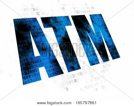 Money concept: Pixelated blue text ATM on Digital background