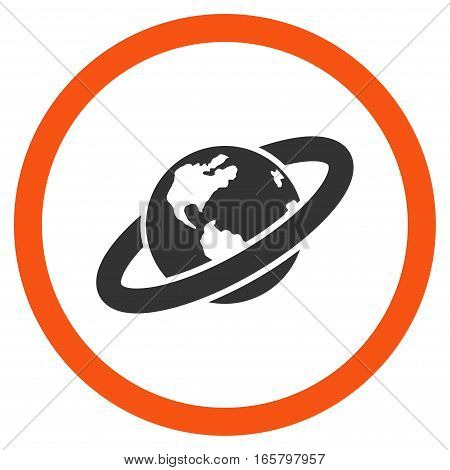 Ringed Planet vector bicolor rounded icon. Image style is a flat icon symbol inside a circle, orange and gray colors, white background.